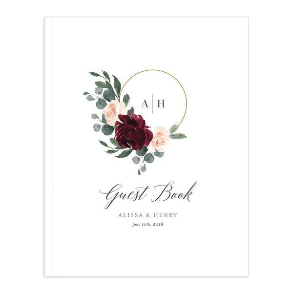 Floral Hoop Custom Wedding Guest Book