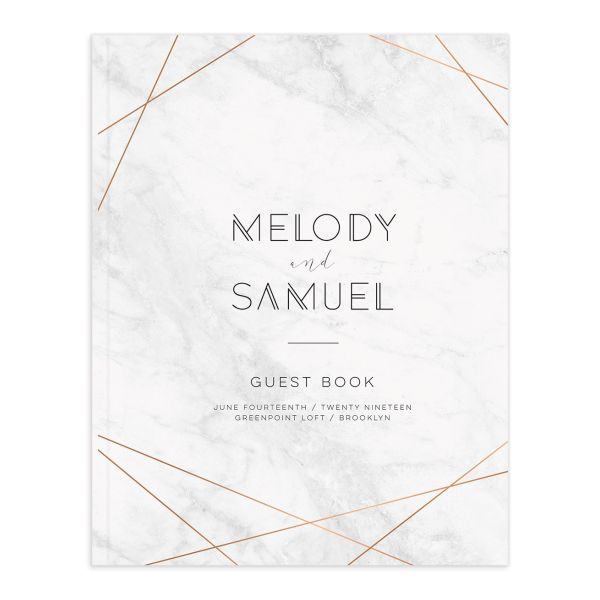 geometric marble wedding guest book