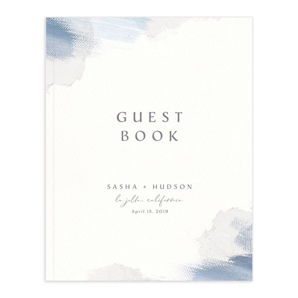 Painted Minimal guest book blue