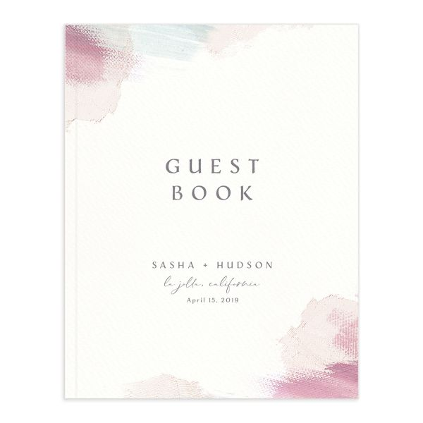 Painted Minimal guest book pink