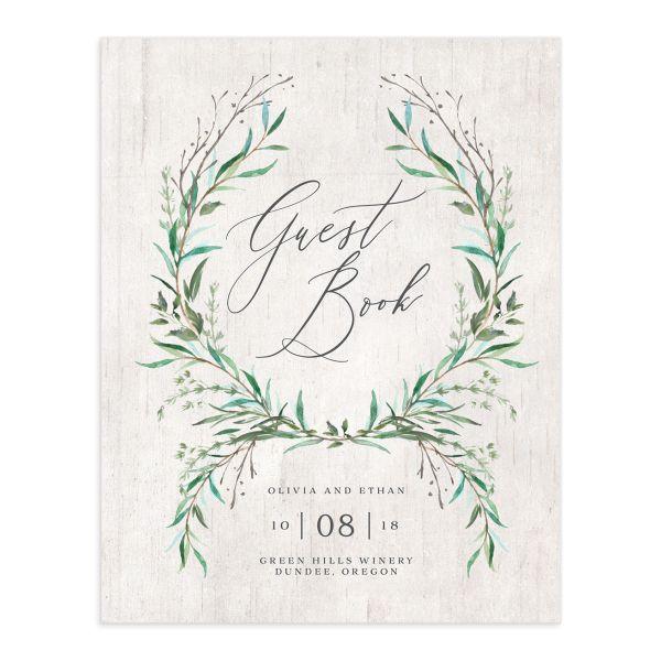 Natural Laurel Wedding Guest Book