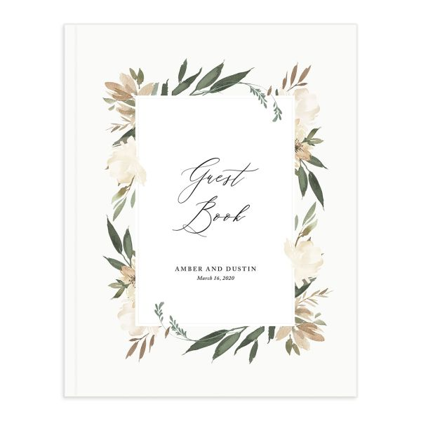 neutral greenery wedding guest books in green