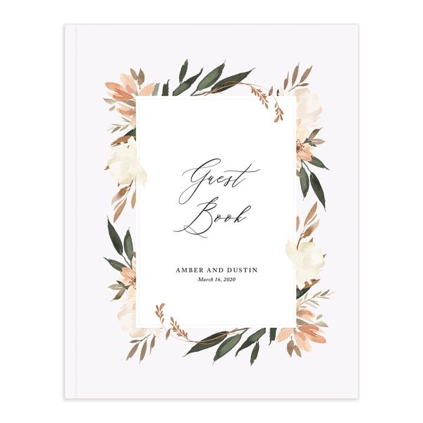 neutral greenery wedding guest books in orange