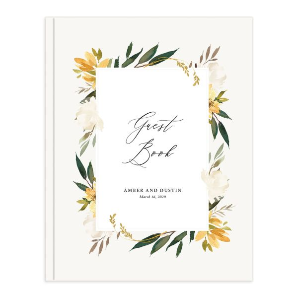 neutral greenery wedding guest books in yellow
