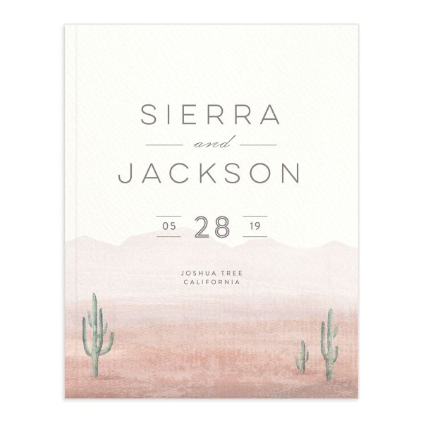 painted desert wedding guest book in pink