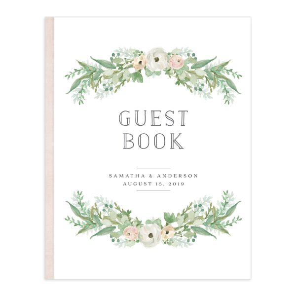 Romantic Garland Wedding Guest Book front cover