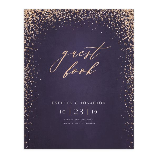 Sparkling Romance guest book purple