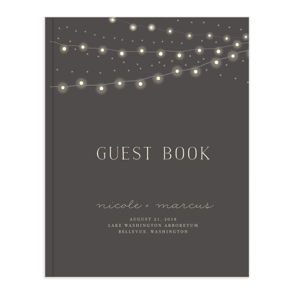 strung lights wedding guest book