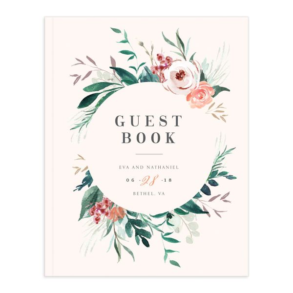 wild wreath wedding guest book in pink