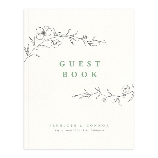 graceful botanical wedding guest book in green