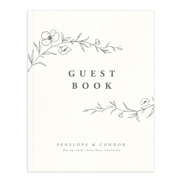 graceful botanical wedding guest book in grey