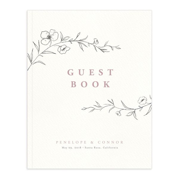 graceful botanical wedding guest book in pink