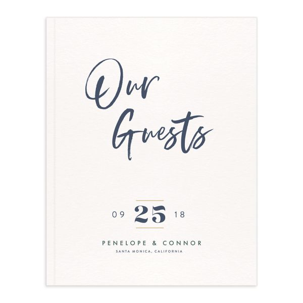 modern luxe wedding guest book in blue