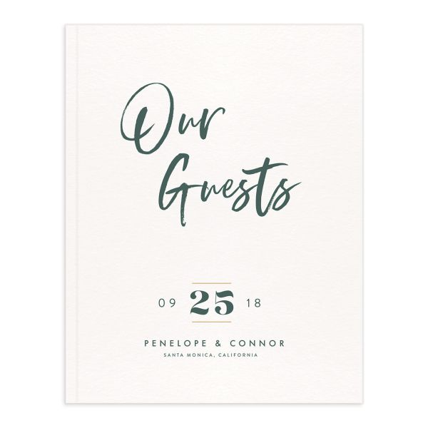 modern luxe wedding guest book in green