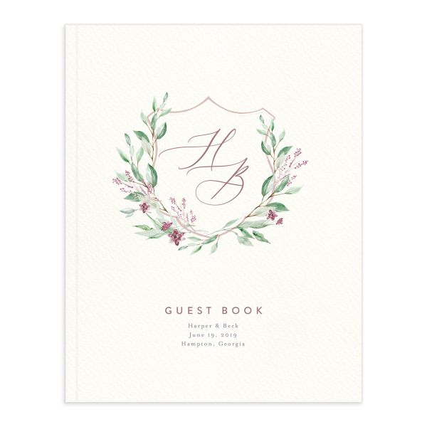 watercolor crest wedding guest book in pink