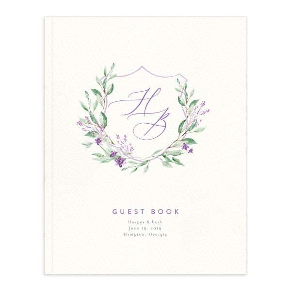 watercolor crest wedding guest book in purple