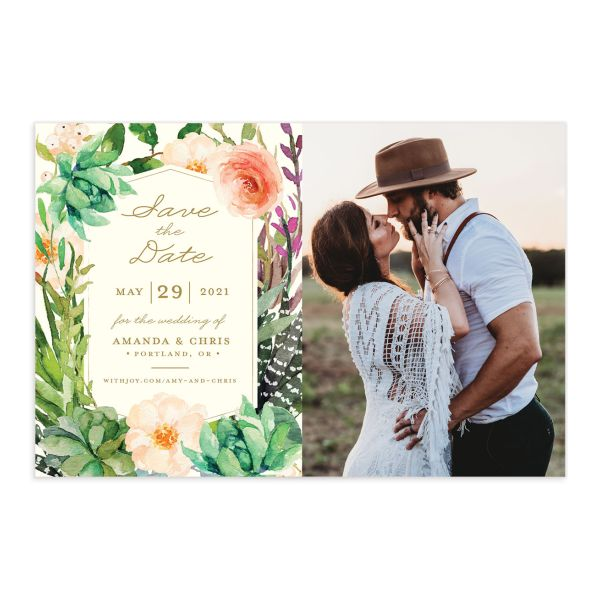Elegant Oasis save the date postcard front