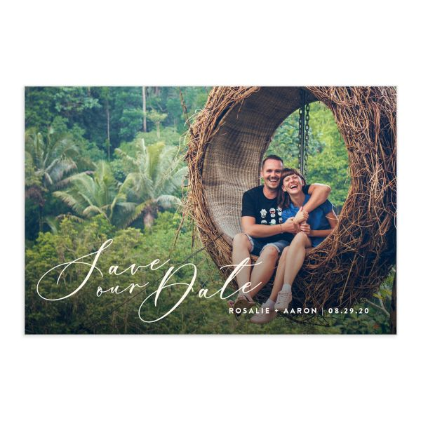 Palm and Protea Wedding Save our Date postcards front