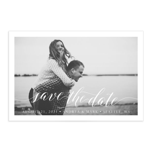 Chic Calligraphy save the date postcards front closeup