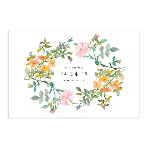 Minimal Floral save the date postcards front