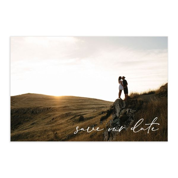 Minimal Brush save the date postcard