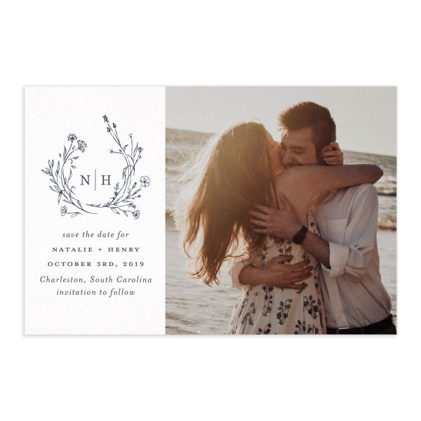 Natural Monogram photo save the date postcard in blue