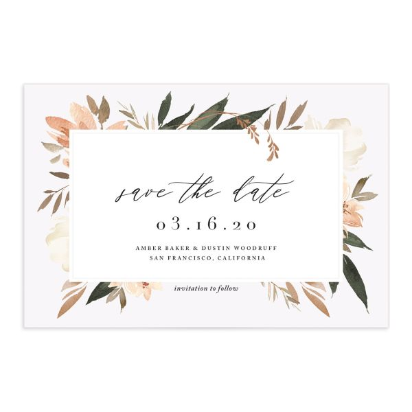 neutral greenery save the date postcards in orange