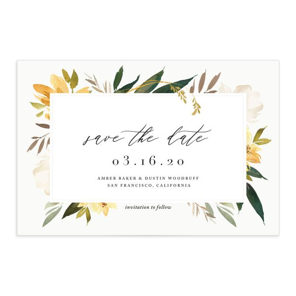neutral greenery save the date postcards in yellow