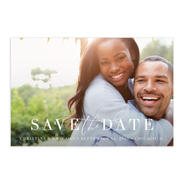 Romantic Calligraphy save the date postcards front