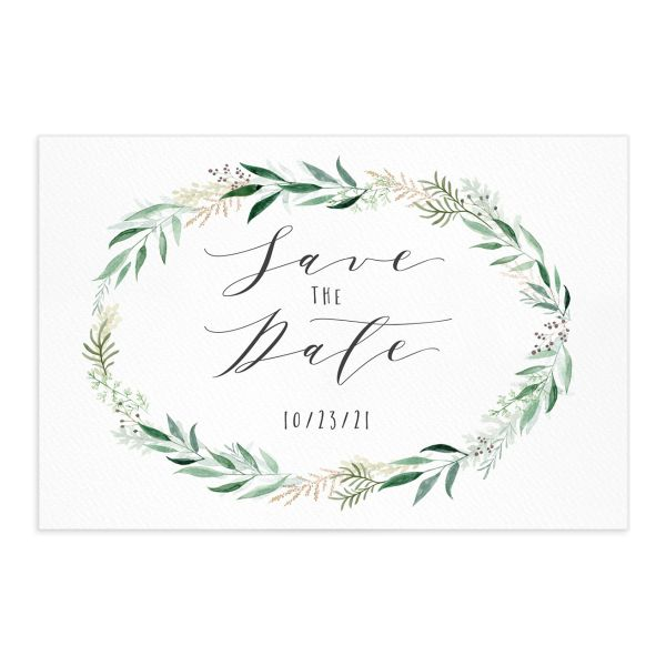 Rustic Wreath save the date postcards front