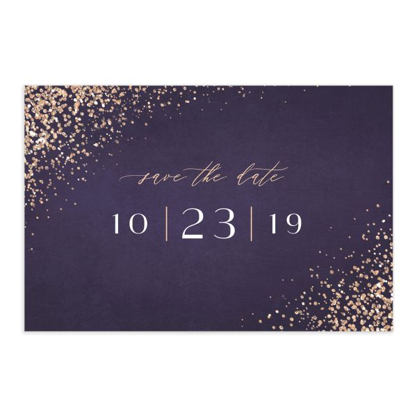 Sparkling Romance save the date postcard purple