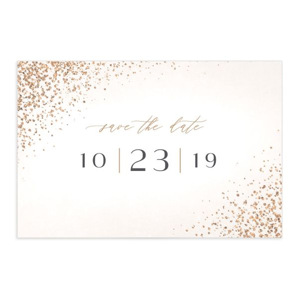 Sparkling Romance save the date postcard cream