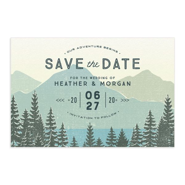 Vintage Mountain save the date postcard