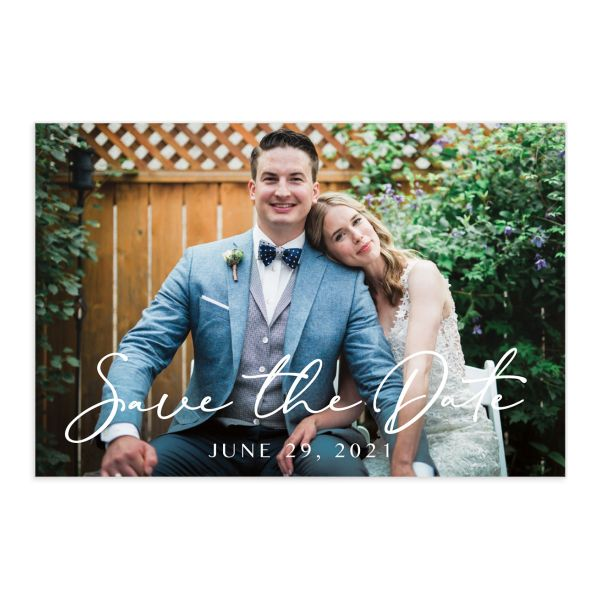 Coastal Love save the date photo postcards front in blue