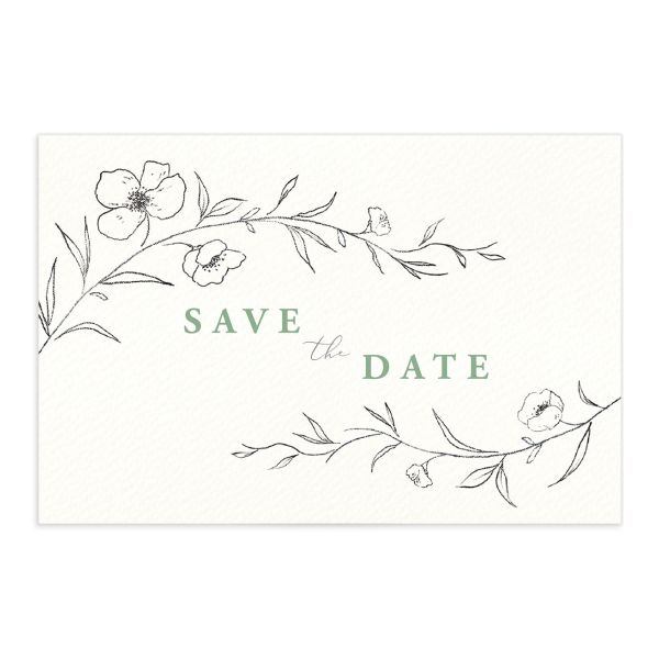 Graceful botanical save the date postcards in green