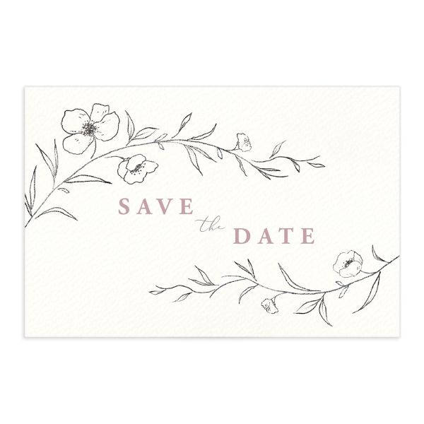 Graceful botanical save the date postcards in pink