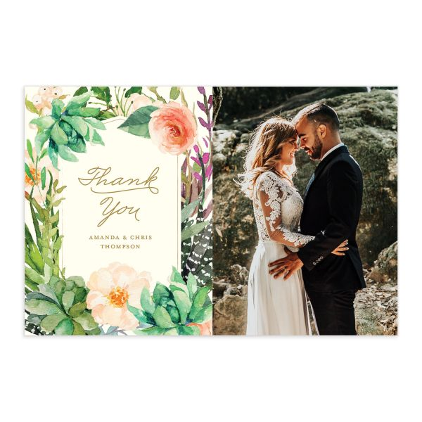 Elegant Oasis wedding thank you postcard front