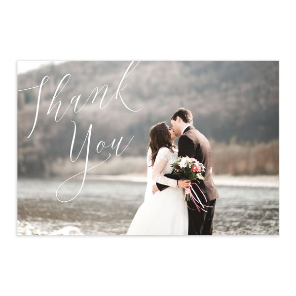 Muted floral thank you card postcards in dusty blue