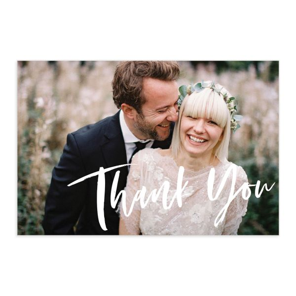 modern luxe thank you card postcards in blue