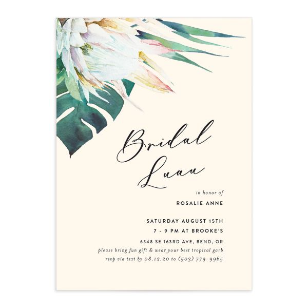 Palm and Protea Bridal Luau invite closeup front
