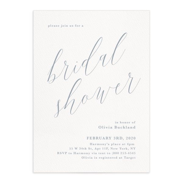 At Last bridal shower invite front in blue