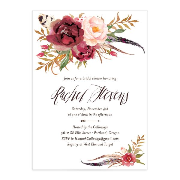 bohemian floral bridal shower invitation in burgundy