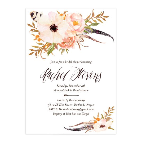 bohemian floral bridal shower invitation in peach