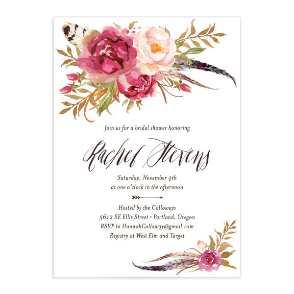 bohemian floral bridal shower invitation in pink