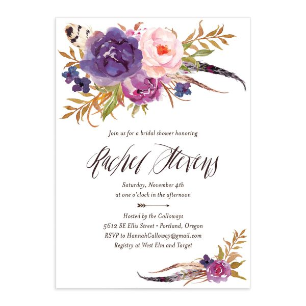 bohemian floral bridal shower invitation in purple