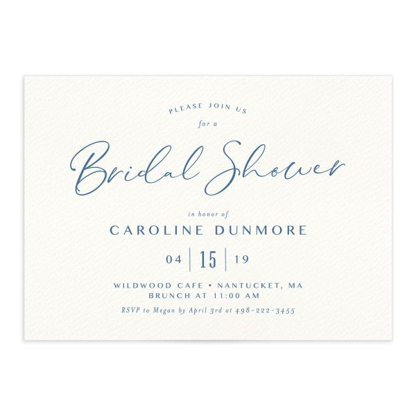 Coastal Love bridal shower invitations in blue front