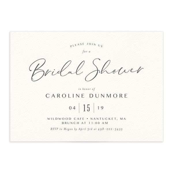 Coastal Love bridal shower invitations in grey front