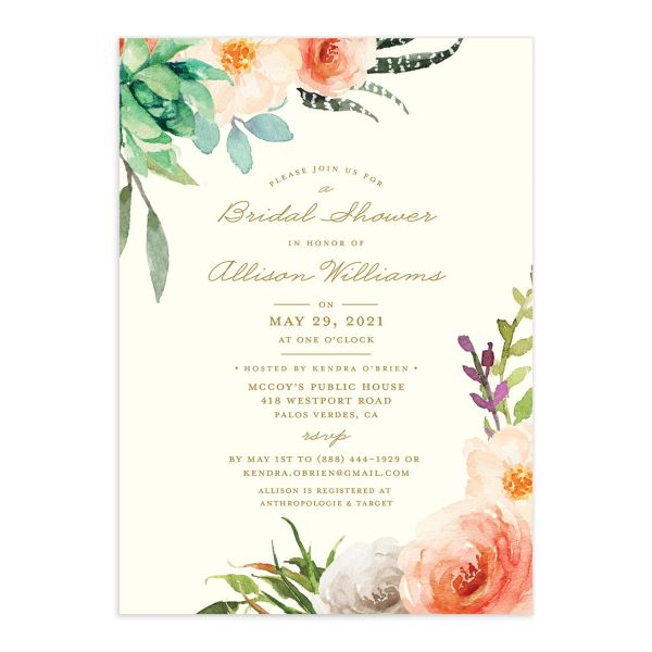 Elegant Oasis Bridal Shower invite front