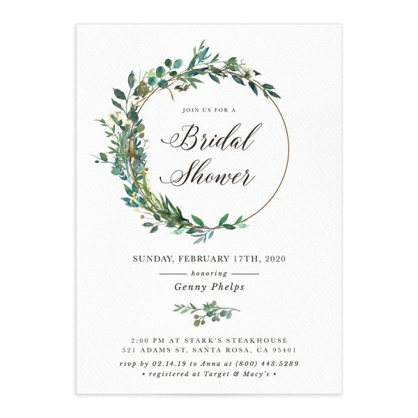 Leafy Hoops bridal shower invite closeup front