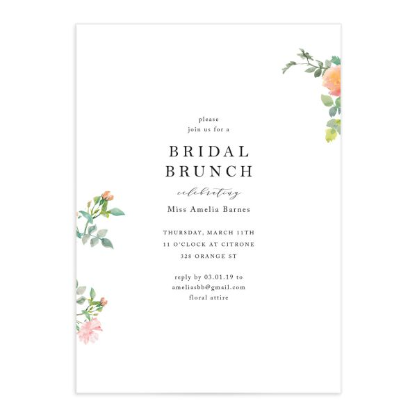 Minimal Floral bridal brunch invite closeup